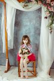 Retrato da menina no tutu cor-de-rosa sob o arco decorativo do casamento imagens de stock royalty free