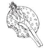 Retrato da menina nos óculos de sol e do banho de sol do biquini no anel inflável da filhós, garatuja tirada mão do esboço, esboç ilustração do vetor