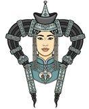 Retrato da menina nova do Mongolian em uma mantilha nacional Imagem de Stock