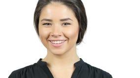 Retrato da menina positiva nova, cara de sorriso vídeos de arquivo