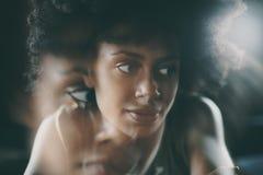 Retrato da menina preta bonito com efeito da exposição dobro fotografia de stock