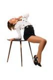 Retrato da menina sonhadora em uma veste preta Fotos de Stock Royalty Free