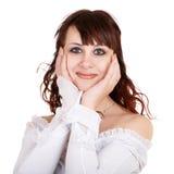 Retrato da menina surpreendida no fundo branco Fotografia de Stock Royalty Free
