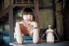 Retrato da menina triguenha Imagem de Stock
