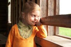 Retrato da menina wistful foto de stock