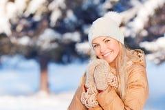 Retrato da moça no inverno Fotos de Stock