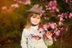Retrato da mola, menina ador?vel na caminhada do chap?u no jardim da ?rvore da flor no por do sol fotografia de stock