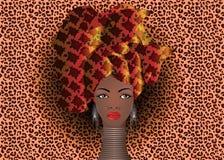 Retrato da mulher africana nova em um turbante colorido Envolva a forma do Afro, Ancara, Kente, kitenge, vestidos africanos das m ilustração do vetor