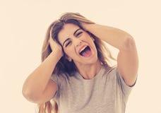 Retrato da mulher alegre atrativa nova com a cara feliz de sorriso Expressões e emoções humanas fotos de stock