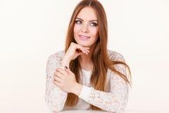 Retrato da mulher atrativa feliz, positiva fotos de stock royalty free