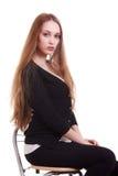 Retrato da mulher bonita com cabelo longo louro Imagem de Stock