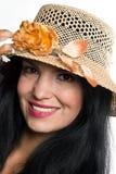 Retrato da mulher bonita com chapéu do sol imagens de stock royalty free