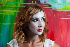 Retrato da mulher bonita com composição Imagem de Stock Royalty Free