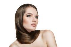 Retrato da mulher bonita com seu cabelo Foto de Stock Royalty Free