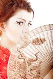 Retrato da mulher bonita com ventilador imagem de stock