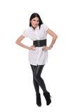 Retrato da mulher bonita da forma no terno branco Imagens de Stock Royalty Free