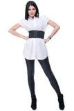 Retrato da mulher bonita da forma no terno branco Fotos de Stock