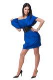 Retrato da mulher bonita da forma no vestido azul fotografia de stock