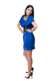 Retrato da mulher bonita da forma no vestido azul imagens de stock