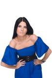 Retrato da mulher bonita da forma nos azuis Fotos de Stock