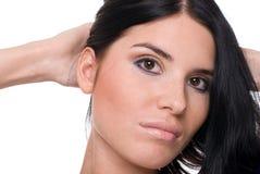 Retrato da mulher bonita da forma nos azuis Fotos de Stock Royalty Free