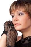 Retrato da mulher bonita em luvas pretas Fotografia de Stock Royalty Free