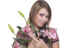 Retrato da mulher bonita nova com flor imagem de stock