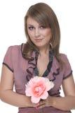 Retrato da mulher bonita nova com flor foto de stock royalty free