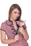 Retrato da mulher bonita nova com flor imagens de stock royalty free