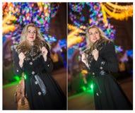 Retrato da mulher bonita nova com o cabelo justo longo exterior na noite fria do inverno Menina loura bonita na roupa do inverno Fotos de Stock