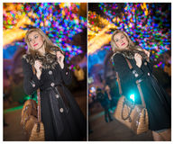 Retrato da mulher bonita nova com o cabelo justo longo exterior na noite fria do inverno Menina loura bonita na roupa do inverno Foto de Stock Royalty Free