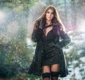 Retrato da mulher bonita nova exterior no cenário do inverno Morena sensual com pés longos no levantamento preto das meias elegan Imagem de Stock Royalty Free