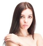 Retrato da mulher bonita nova no branco Fotos de Stock Royalty Free