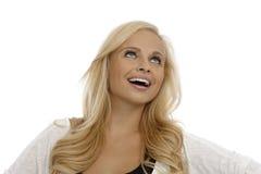 Retrato da mulher bonita que olha acima Fotos de Stock