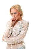 Retrato da mulher caucasiano bonita nova que sente doente Foto de Stock