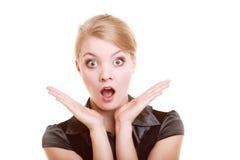 Retrato da mulher chocada mulher de negócios surpreendida Fotos de Stock Royalty Free