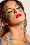 retrato da mulher com arte corporal Imagem de Stock
