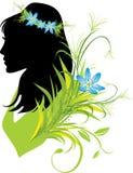 Retrato da mulher com as flores no cabelo. Silhueta Imagem de Stock