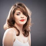 Retrato da mulher com cabelo do encrespador Fotos de Stock