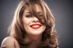 Retrato da mulher com cabelo do encrespador Imagem de Stock Royalty Free