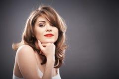 Retrato da mulher com cabelo do encrespador Fotos de Stock Royalty Free