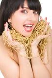 Retrato da mulher com colar do ouro Fotografia de Stock Royalty Free
