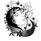 Retrato da mulher com flores ilustração do vetor