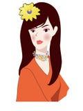 Retrato da mulher com flores amarelas Ilustração Stock