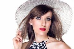 Mulher com chapéu branco Fotos de Stock