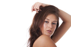 Retrato da mulher com ombros desencapados Fotografia de Stock Royalty Free