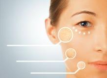Retrato da mulher com partes secas da pele da cara Fotografia de Stock Royalty Free