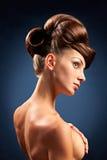 Retrato da mulher com penteado Foto de Stock Royalty Free