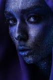 Retrato da mulher com pintura violeta na cara Imagens de Stock Royalty Free