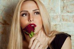 Retrato da mulher com rosa do vermelho Foto de Stock